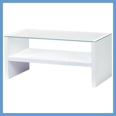 『一般B』ガラステーブル(90×45×41.5cm)/ホワイト