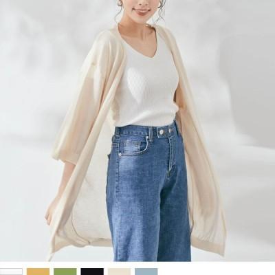 大きいサイズ レディース 服 シアーニット ロング カーディガン
