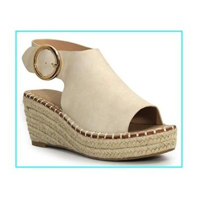 "Shoes & Style Cirkly Womens Fashion 2.5"" Espadrille Wedge Heel with 2"" Platform All-Vegan (Beige, 7.5)"