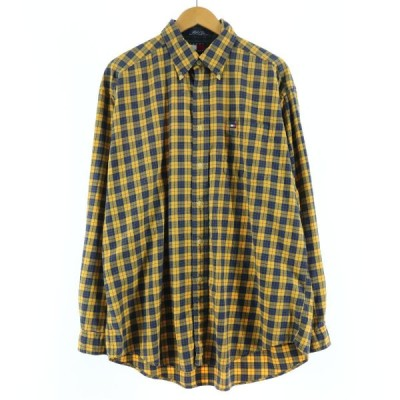 90年代 トミーヒルフィガー TOMMY HILFIGER 長袖 ボタンダウンチェックシャツ メンズL ヴィンテージ /eaa131566