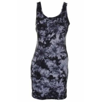 kensie ケンジー ファッション ドレス Kensie Gray Black White Batik Striped Round Neck Tank Top Dress