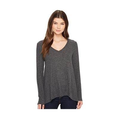 Michael Stars Women's Madison Brushed Jersey V-Neck Long Sleeve Top, Charco