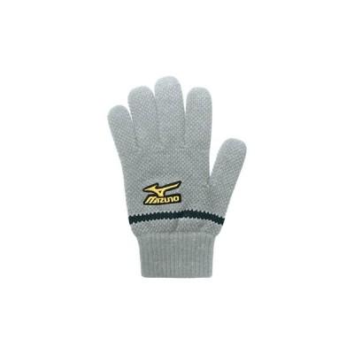 ミズノプロ ニット手袋 ブレスサーモ 発熱 温かい すべり止め付き 52ZB70005 グレー ブラック