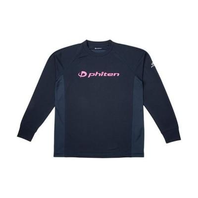 ファイテン(phiten) メンズ レディース RAKUシャツSPORTS(SMOOTH DRY)長袖 ネイビー/ピンクロゴ 3120JG35500 スポーツTシャツ アクアチタン トップス