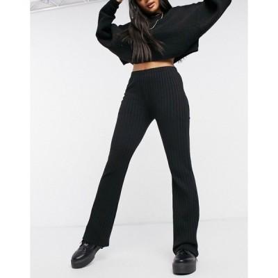 コットン オン レディース カジュアルパンツ ボトムス Cotton:On textured rib pants in black Black