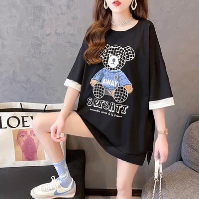 大碼短T~LM312假兩件T恤女日韓版INS短袖中長款上衣4F-E416 胖妞衣櫥