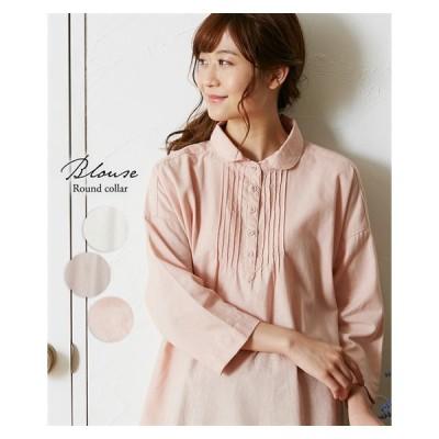 レディース ゆったりサイズ 丸衿 ピンタック シャツ M/L ニッセン nissen