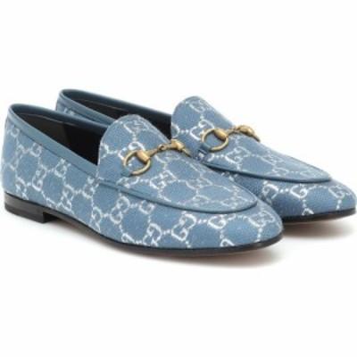 グッチ Gucci レディース ローファー・オックスフォード シューズ・靴 Jordaan Gg-Brocade Loafers Blue Silver