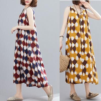 春夏 ドレス ロングドレス ワンピース ノースリーブ エスニック 綿麻 カジュアル ゆったり