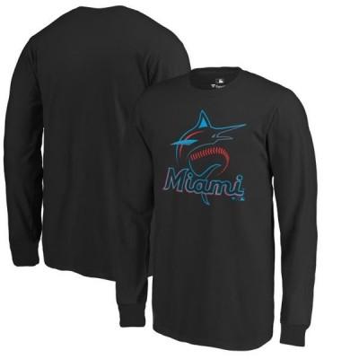 キッズ スポーツリーグ メジャーリーグ Miami Marlins Fanatics Branded Youth Primary Logo Long Sleeve T-Shirt - Black Tシャツ