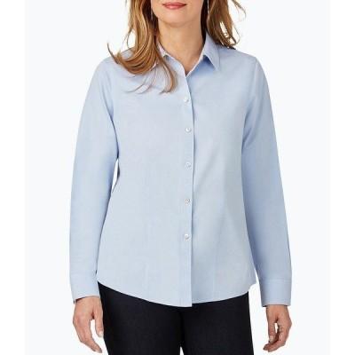 フォックスクラフト レディース シャツ トップス Dianna Long Sleeve Non-Iron Pinpoint Oxford Seamed Button Front Blouse Blue Wave