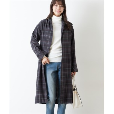 さっと羽織れる♪チェック柄ガウンシャツ (コート)(レディース)Coat