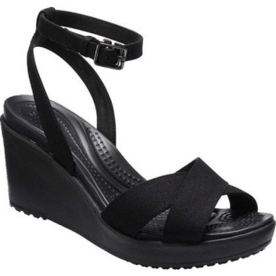クロックス Crocs レディース サンダル・ミュール アンクルストラップ ウェッジソール シューズ・靴 Leigh II Ankle Strap Wedge Black/Black