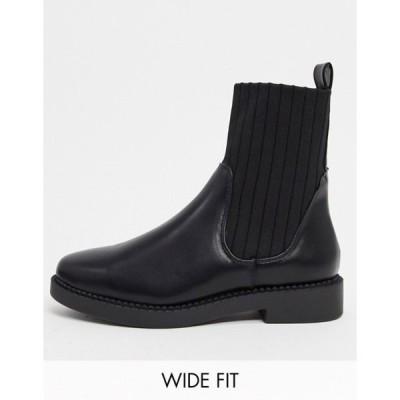 エイソス レディース ブーツ・レインブーツ シューズ ASOS DESIGN Wide Fit Amanda chunky sock boots in black