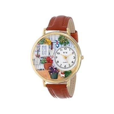 〈新品送料無料〉ガーデニング 茶色レザー ゴールドフレーム 時計 #G1210008