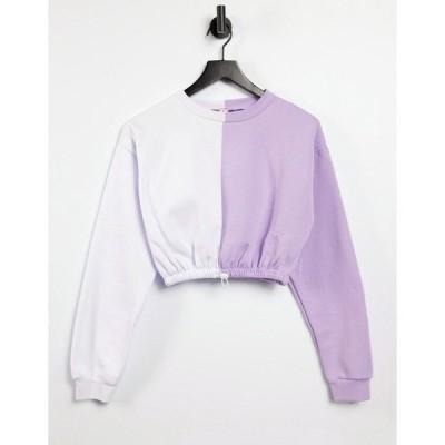 アーバン スレッド  レディース パーカー・スウェットシャツ アウター Urban Threads colorblock cropped sweatshirt - part of a set Lilac/white