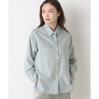 yueni/ユエニ {洗える}コットンリネンシャンブレーシャツジャケット グリーン フリー