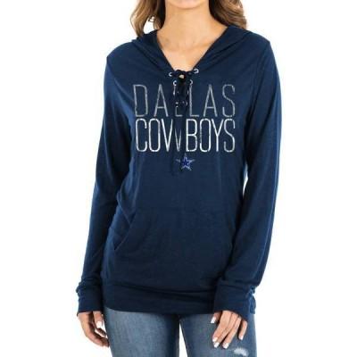 ニューエラ レディース シャツ トップス New Era Women's Dallas Cowboys Lace Navy Hooded Long Sleeve Shirt
