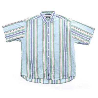 ドッカーズ ボタンダウン 半袖 シャツ ストライプ サイズ表記:L