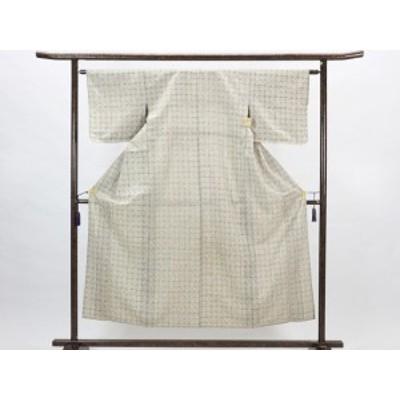 【中古】リサイクル紬 / 正絹アイボリー地単衣紬着物 (古着 中古 紬 リサイクル品)