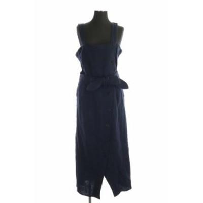 【中古】コンバーストウキョウ CONVERSE TOKYO リネンコットンジャンパースカート ロング ベルト付き 紺 ネイビー
