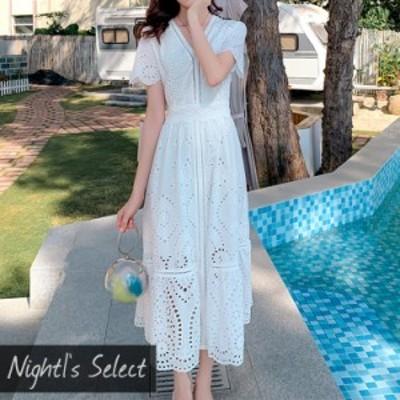 ワンピース サマードレス ミモレ ワンピース ミモレ丈 膝丈 S M L XL 大きいサイズ 体型カバー ホワイト 白 ビーチ ドレス