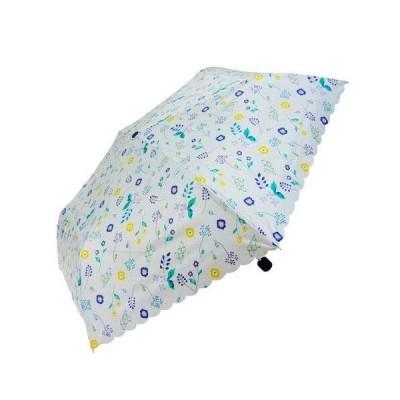 雨晴兼用 折りたたみ傘 55cm mini ボタニカル UM-2061 ホワイト (1559320)