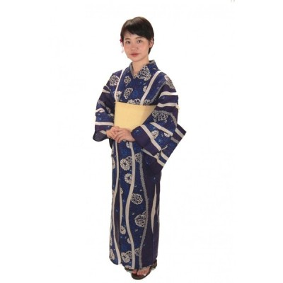 綿麻浴衣 仕立て上り浴衣 ゆかた 藍染よろけ柄 麻30% プレタ浴衣 フリーサイズ 浴衣単品