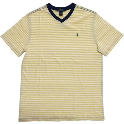 ラルフローレン ボーイズサイズ 半袖 Vネック ボーダー Tシャツ イエロー Polo Ralph Lauren boys 443