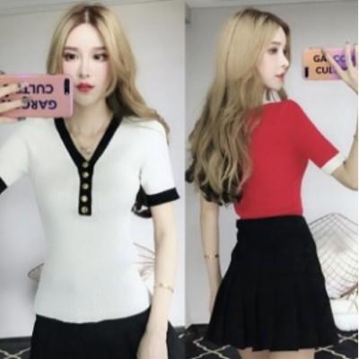 新作 レディース  タイトTシャツ ナイトクラブセクシー 半袖Tシャツ 夜店 胸元 気質 スリム Tシャツ  B65
