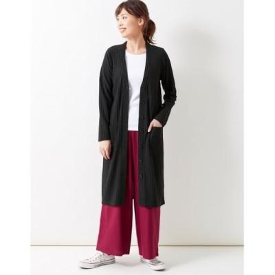 【大きいサイズ】 ワイドリブロング丈カーディガン  plus size cardigan, テレワーク, 在宅, リモート