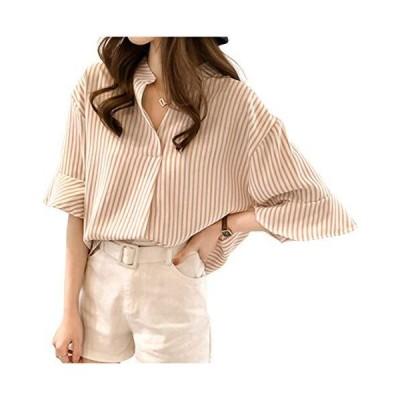 シャツ 半袖 大きい 春 夏 春夏 五分袖 tシャツ ストライプ 薄手 トップス ブラウス ボーダー 総柄 縞 Tシャツ ?