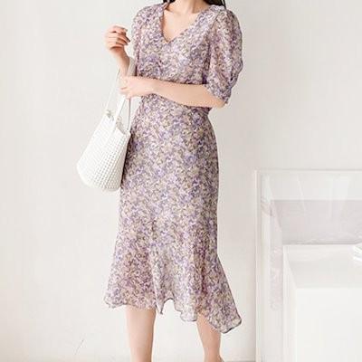 送料0円! 韓ファッション穏やかなクラシックシフォンVネックワンピース(ops1092)