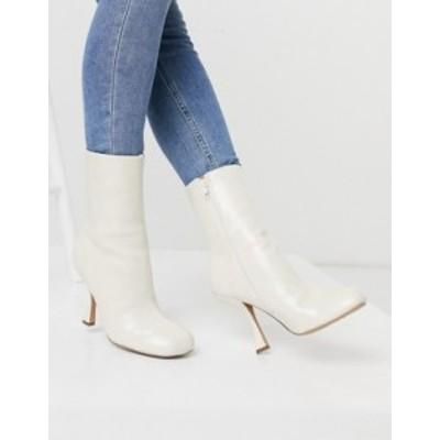 エイソス レディース ブーツ・レインブーツ シューズ ASOS DESIGN Electric high heeled ankle boots in off white Off white