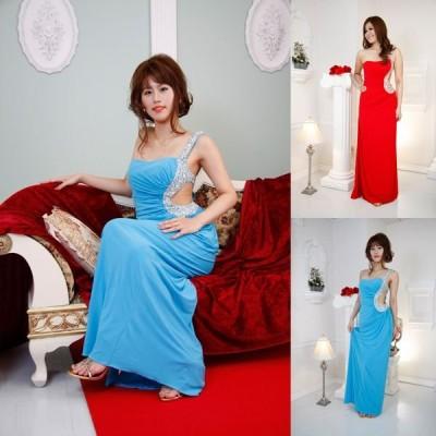 ウエストオープンビジューロングドレス レッド ブルー ホワイト 結婚式 ドレス パーティードレス お呼ばれドレス カラードレス