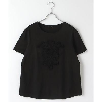 TABASA / タバサ コットン天竺コード&テープ刺繍Tシャツ