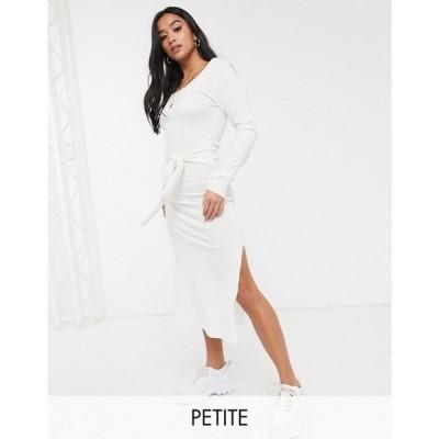 ミスガイデッド Missguided Petite レディース ワンピース ワンピース・ドレス knitted midaxi dress side split and tie waist in white ホワイト