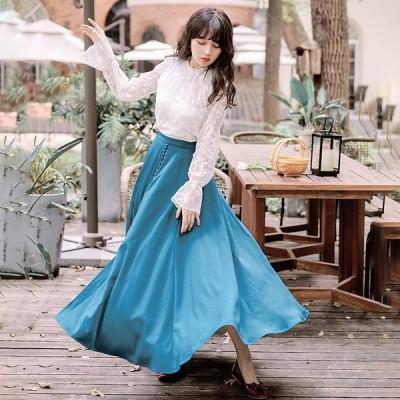 スカート サテンナロースカート サテン グリーン スリット 光沢 上品 艶やか 華やか ロング丈 Aライン フレア シンプル おしゃれ 大人 通勤 フリースタイル
