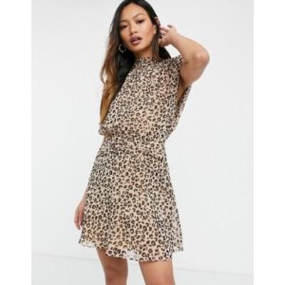 エイソス レディース ワンピース トップス ASOS DESIGN sleeveless mini dress with ruched waist in animal print Animal print