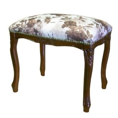 イタリア製家具 スツール ローズ柄生地 バラ柄 腰掛け椅子 猫脚 こしかけ 玄関 リビング 寝室 アンティーク クラシック