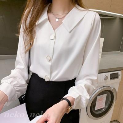 長袖Vネックシフォンシャツレディースフォーマルブラウスホワイトシャツとろみシャツ薄手トップス女性カジュアル着痩せシンプル