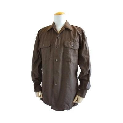 ドイツ軍放出 BW フィールドシャツ・後染め ブラウン JS001ND GR.3(L)〔デットストック〕