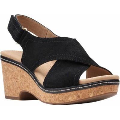 クラークス レディース サンダル シューズ Women's Clarks Giselle Cove Wedge Slingback Sandal Black Suede/Cork
