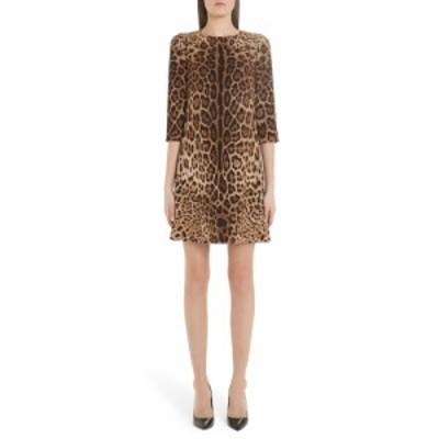 ドルチェ&ガッバーナ DOLCE&GABBANA レディース ワンピース ワンピース・ドレス Leopard Print Cady Crepe Shift Dress Leo