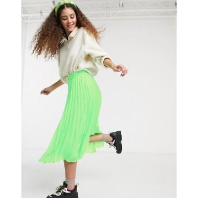 モンキー Monki レディース ひざ丈スカート スカート high waist pleat midi skirt in neon green グリーン