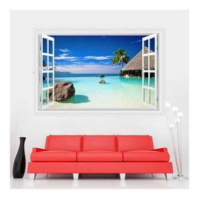 ウォールステッカー 窓 プライベートビーチ ヤシの木 壁シール 青い海 南の島 隠れ家 絶景
