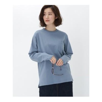 ベース コントロール BASE CONTROL 【WEB限定】長袖 ヘビーウェイトポケットTシャツ クルーネック (ライトブルー)