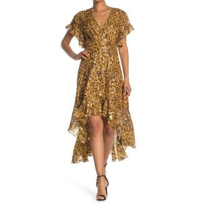 バッシュ レディース ワンピース トップス Grac  Foil Design Silk Blend Flutter Sleeve High/Low Dress BROWN