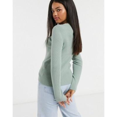 ピーシーズ レディース ニット&セーター アウター Pieces ribbed sweater in light green JADEITE