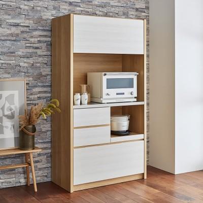 Milovy/ミロヴィ キッチンボード オープンボード 幅96cm ホワイトモクメ/ナチュラル